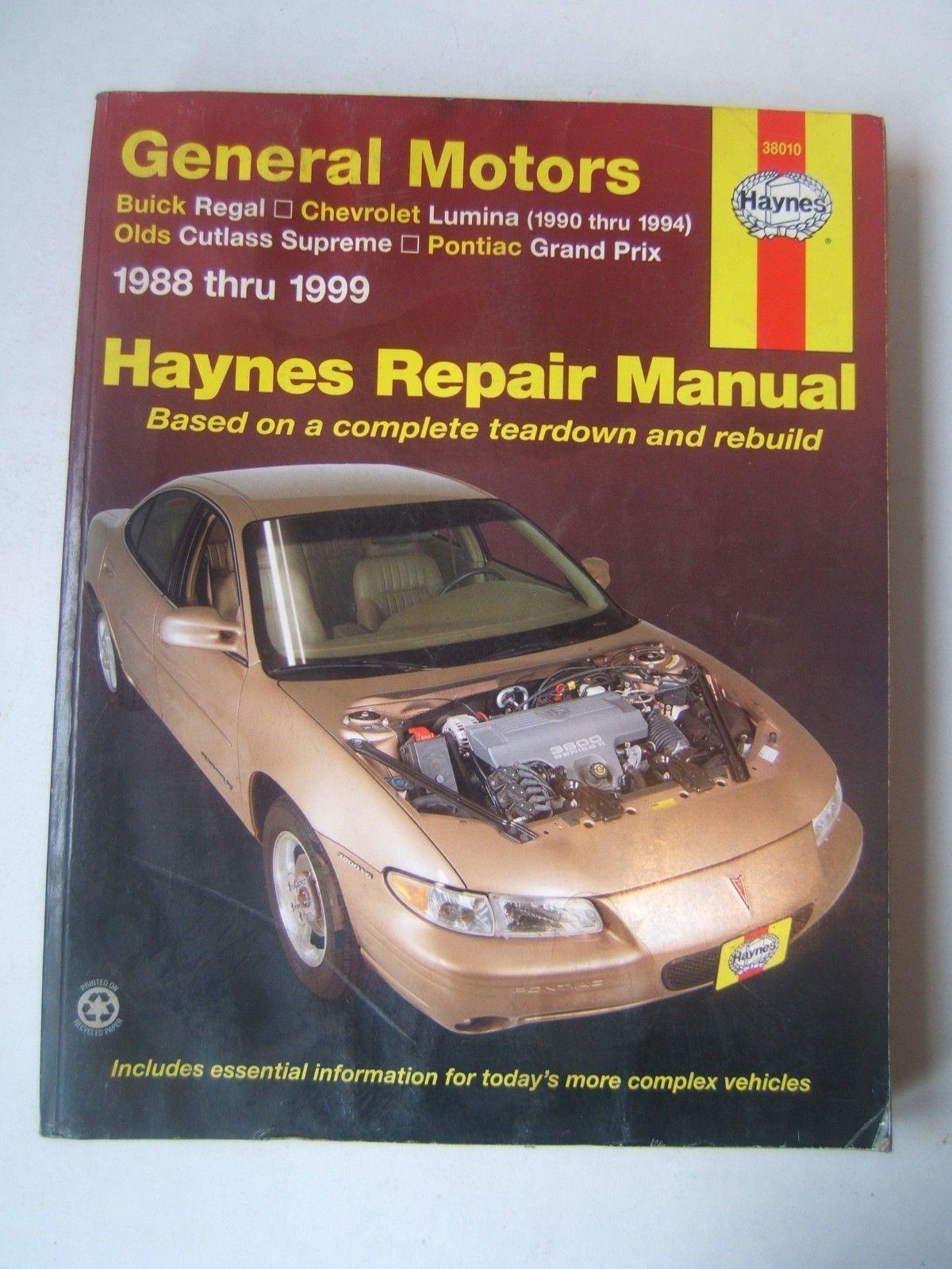 General Motors Buick Chevrolet Olds Pontiac Haynes Manual 1988-1999 Shop  Used