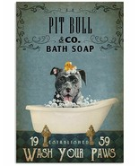 VibesPrints Vintage Bath Soap Pit Bull Poster Art Print, Gift For Pit Bu... - $25.59+