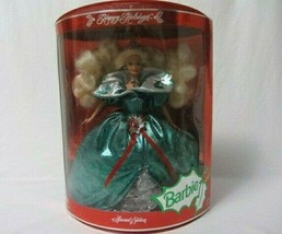 MATTEL HAPPY HOLIDAYS BARBIE DOLL 1995 GREEN DRESS DOLL STAND INCLUDED - $19.99