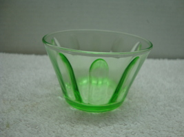 Green strait pannel Vaseline glass fruit/ custard bowl. - $10.00