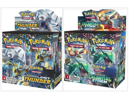 Pokemon TCG Sun & Moon Lost Thunder + Celestial Storm Booster Box Bundle - $209.99