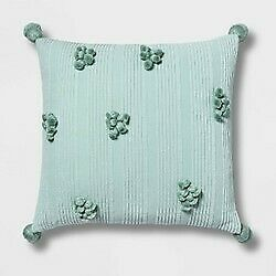 Square Cotton Ribbed Pillow with Tassels Mint - Opalhouse NEW !  STORE