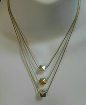 Lia Sophia Two-tone Triple Chain Square Charm Necklace - $35.00