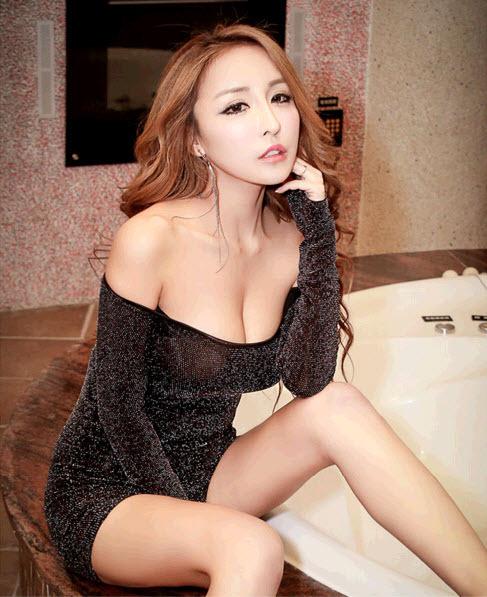 pl032 Sexy off-shoulder glitter mini dress, size M, L, gold - $32.80