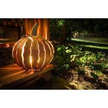 14 in. x 15 in. Orange Powder Coated Squatty Pumpkin Luminary - $81.67