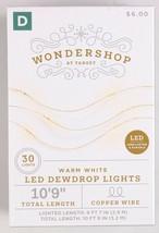"4X Wondershop Dewdrop String LED Lights 30 ct Warm White Copper Wire 10'9"" New image 2"