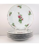 Lynns Victorian Rose Salad Plates Set of 6 White Fine China Pink Roses 7... - $27.72