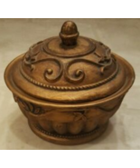 Trinket Box Bowl Candy Bowl Container Jewelry Holder Resin Gold Round Wi... - $20.00