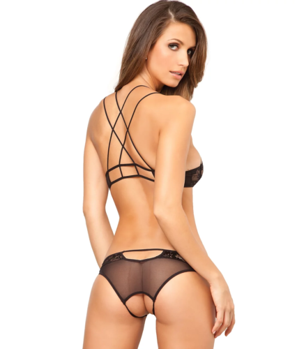 RENE ROFE Black Lace Wireless Bra & Panty Set, US Small/Medium