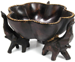 Triumphant Elephant Rain Tree Wooden Bowl-Handmade Carving From Thailand - $62.81