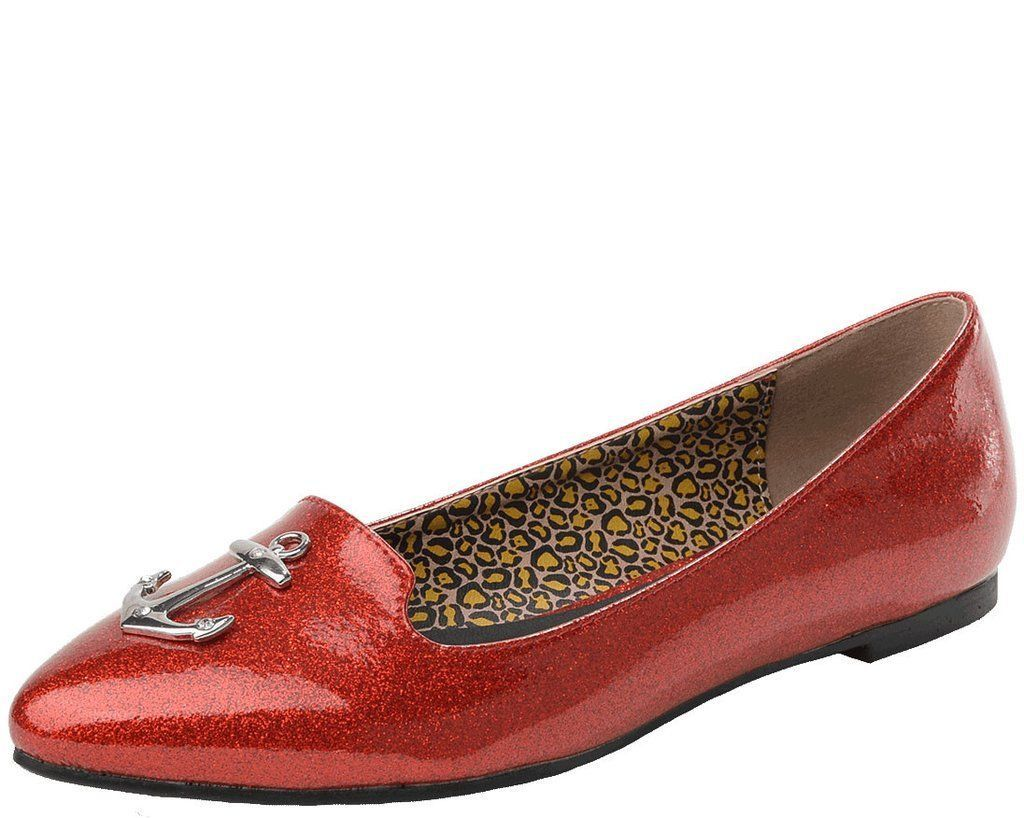 T.U.K. Lux De Ville Anchor Patent Pointed Flat Ruby Red Sparkles Retro  9 Womens