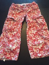 Girls Size 10 Tommy Hilfiger Crop Pants Capris Pink White Flowers - $2.93