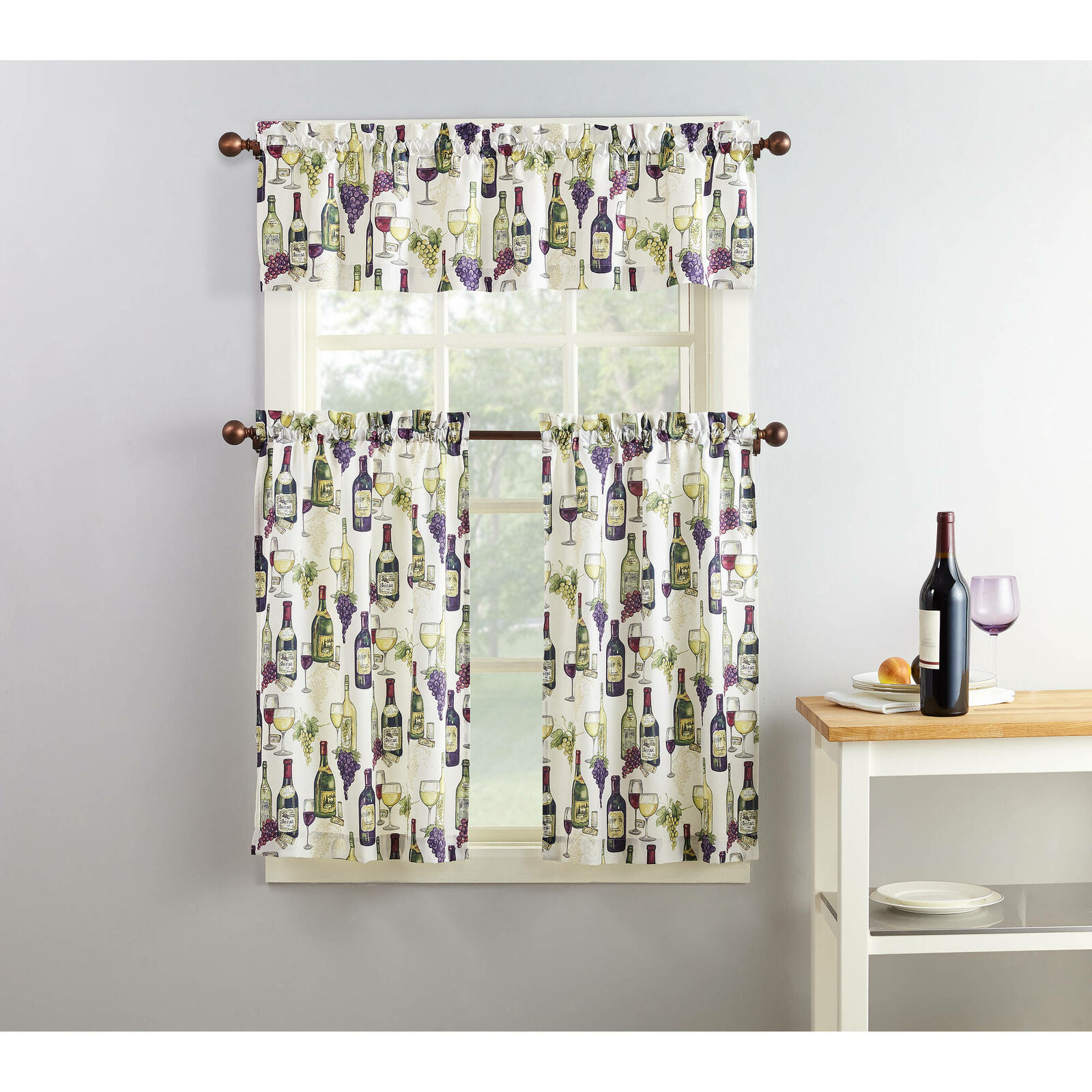 Primary image for Mainstays Winery 3 Piece Kitchen Curtain Set Winery