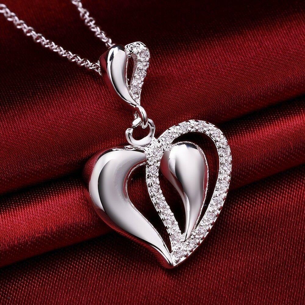 Primary image for Love Heart Charm Pendant Necklace 925 Sterling Silver NEW
