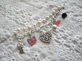 "Charm Bracelet By Express Hearts, Bows, Bead & Pearls Beautiful 7.5"" - $9.95"