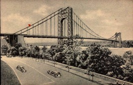 VINTAGE POSTCARD-GEORGE WASHINGTON BRIDGE & HUDSON RIVER-C.T. PHOTO-PLAT... - $3.19