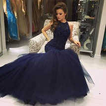 2017 Halter Neck Beading Keyhole Back Navy Blue Long Mermaid Prom Dresses - $219.00