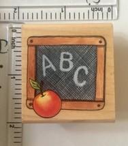 ABC Slate Rubber Stamp Rubber Stampede School Chalkboard Apple Wood Moun... - $2.48