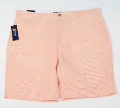 Chaps Flat Front Orange & White Gingham Seersucker Flat Front Shorts Mens NWT - $37.49