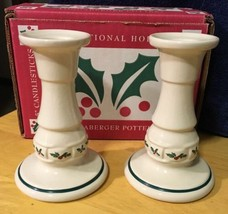 "2 Longaberger Holly Woven Traditions Christmas 5"" Candle Holders/Candles... - $14.01"