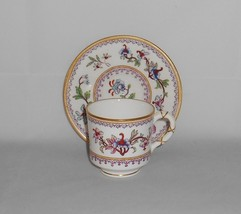 Royal Worcester England Hand Painted China Floral Demitasse Demi Cup & S... - $50.00