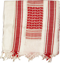 White & Red Military Shemagh Arab Tactical Desert Keffiyeh Scarf - $12.99