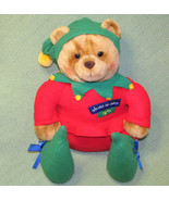 "14"" Hallmark Teddy Bear ELF #25 Santa's Workshop Plush Stuffed Animal CH... - $20.57"