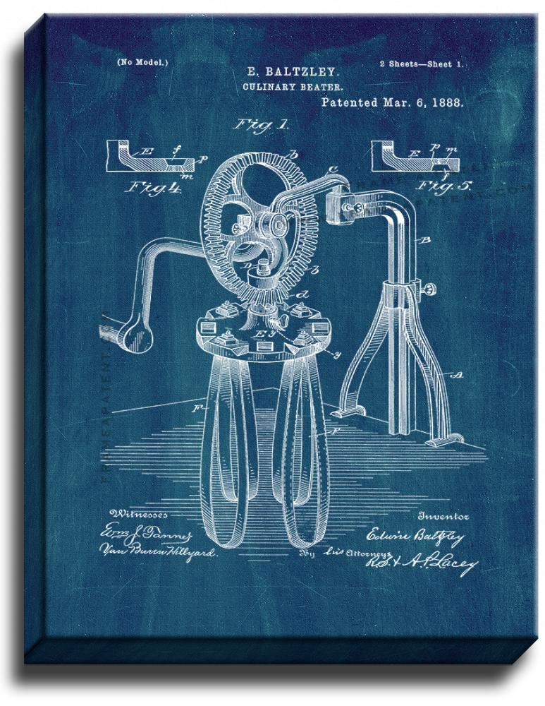 Primary image for Culinary Beater Patent Print Midnight Blue on Canvas