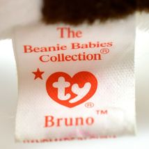 1997 TY Beanie Baby Original Bruno Brown White Dog Beanbag Plush Toy Doll image 7