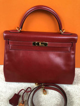 Xlt Auth Hermes Rouge Vif Box Calfskin 32 Cm Kelly Ii Retourne Ghw True Red - $8,999.99