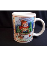 Christmas coffee mug Keep friends close snowman puppy Debra Jordan Bryan 10 oz - $7.39