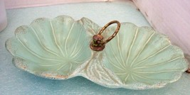 VTG Turquoise Blue Leaf Shape Divided Serving Dish Made in USA Pottery N... - $13.85