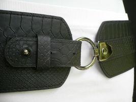 Cintura Donna Fashion Hip Vita Elastico Nero Largo Finta pelle Serpente Timbro image 5