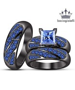 14k Black Gold Fn. 925 Silver Princess Cut Blue Sapphire Trio Wedding Ring Set - $142.67