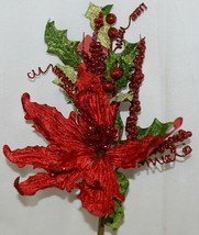 Unbranded 999367 Green Red Poinsettia  Holly Berries Christmas Decoration image 2