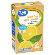 Great Value Iced Tea with Lemon Drink Mix, 10ct Pack of 6 - $19.33