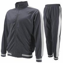 vkwear Men's Striped Athletic Running Jogging Gym Slim Fit Sweat Track Suit Set image 6