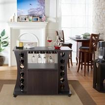 NEW Espresso Dry Bar Storage Holds 12 Bottles Wine Rack Liquor Cabinet B... - $301.85