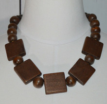 Brown Wooden Cascading Circle Square Beaded Silver Tone Choker Necklace Vintage - $29.69