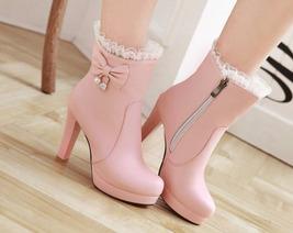 83B013 elegant lace booties w pendants, US Size 4-8.5, pink - $58.80