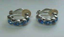 Vintage SWAROVSKI Swan Logo Blue Crystal Clip-on Earrings - $34.65