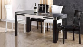 American Eagle DT-C560 Black and Ivory Tempered Glass Top Dining Table - $746.00