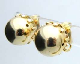 Gold Tone Modern Abstract Circle Ball Clip-On Earrings Vintage - $13.86