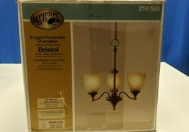 Hampton Bay 3-Light Nutmeg Bronze Reversible Chandelier w/Tea-Stained Glass - $29.69
