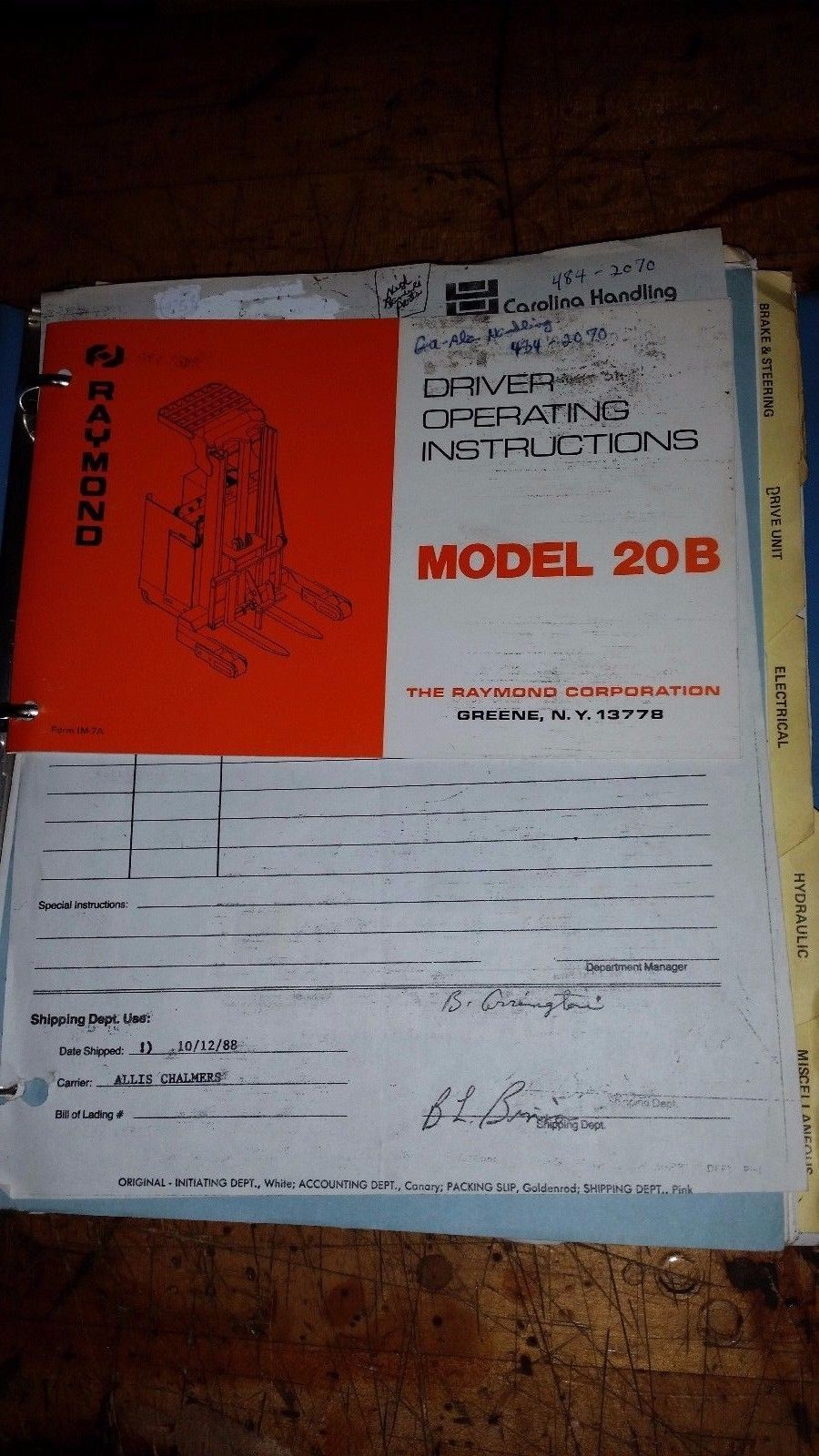 Raymond 20b fork lift truck Owner Operator Manual parts catalog book guide