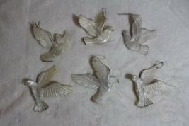 Christmas Tree Ornaments Turtledoves Lot of 6 White Gold Edges Plastic 3... - $19.57