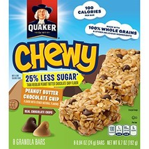 Quaker Peanut Butter Chocolate Chip Chewy Granola Bars Reduced Sugar, 0.... - $40.09