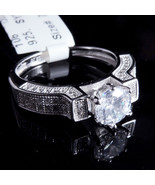 Ladies 14K White Gold Fn Lab Diamond Princess Cut Solitaire Bridal Ring ... - $54.99
