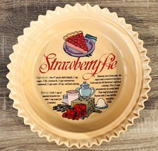 "Strawberry Pie 11"" Dish Plate Recipe In Dish Ruffled Edge Vintage Style - $13.05"