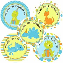 Dinosaur Thank You Sticker Labels - Boy Children Birthday Baby Shower Party Supp